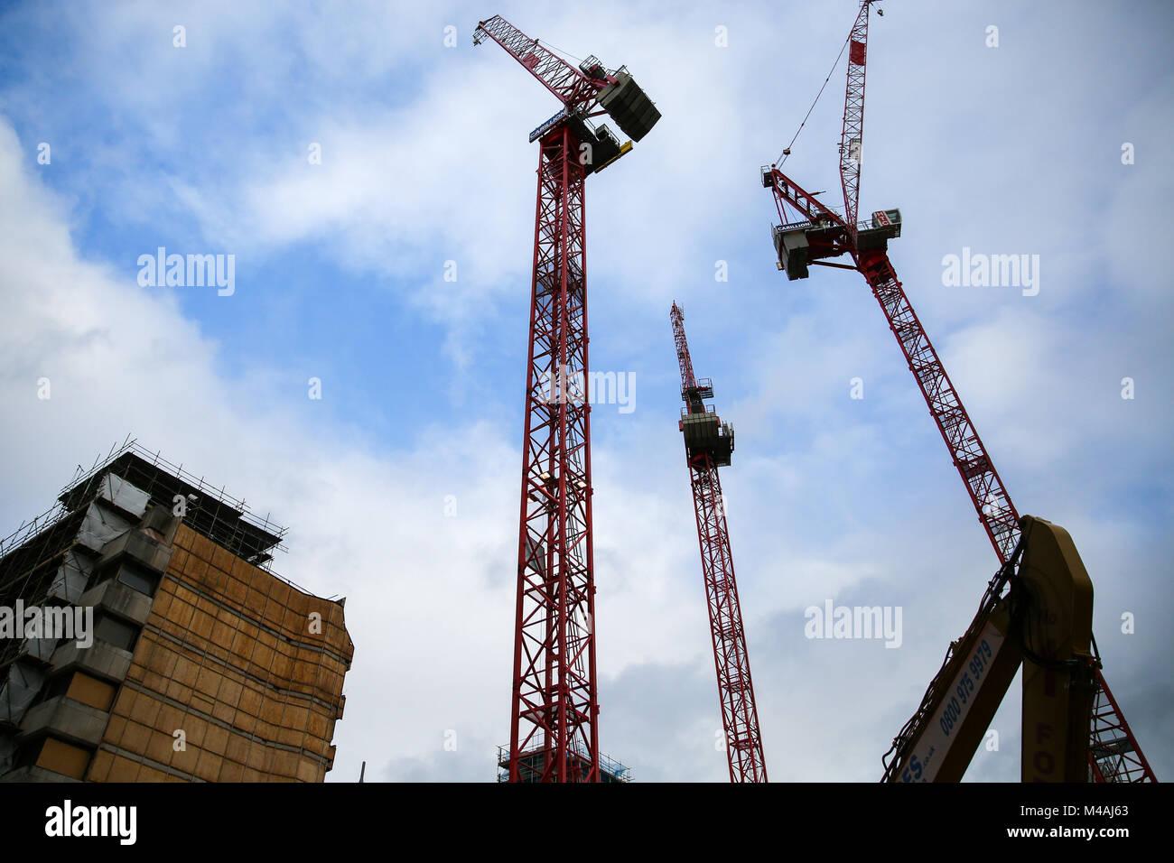 Cranes with the Carillion construction company logo hang