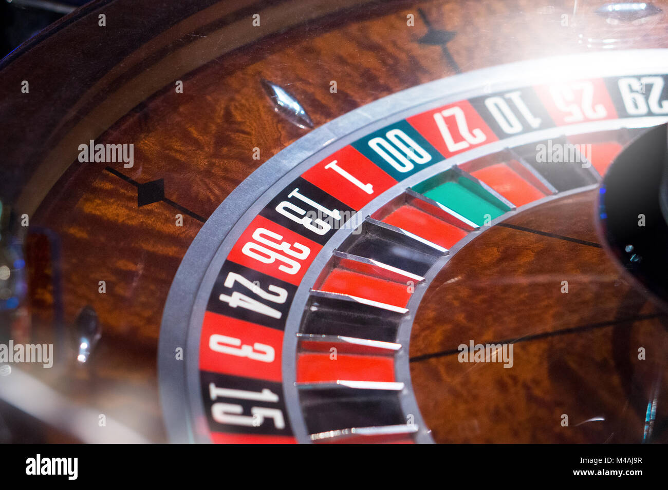 Roulette in casino with shiny light. - Stock Image