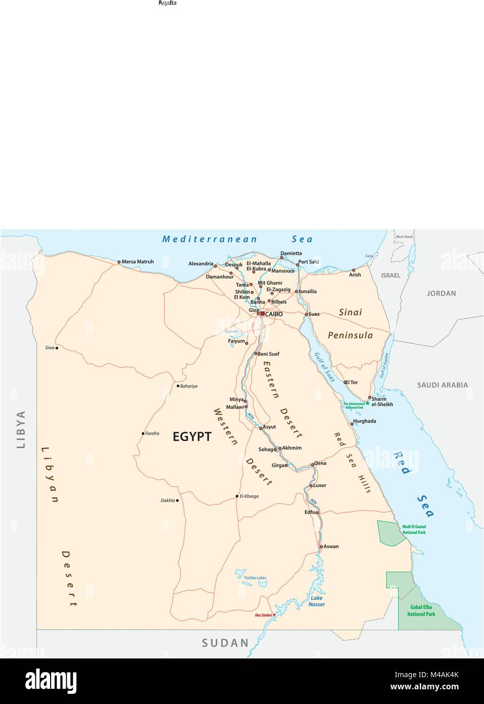 Roads vector map of the Arab Republic of Egypt - Stock Image