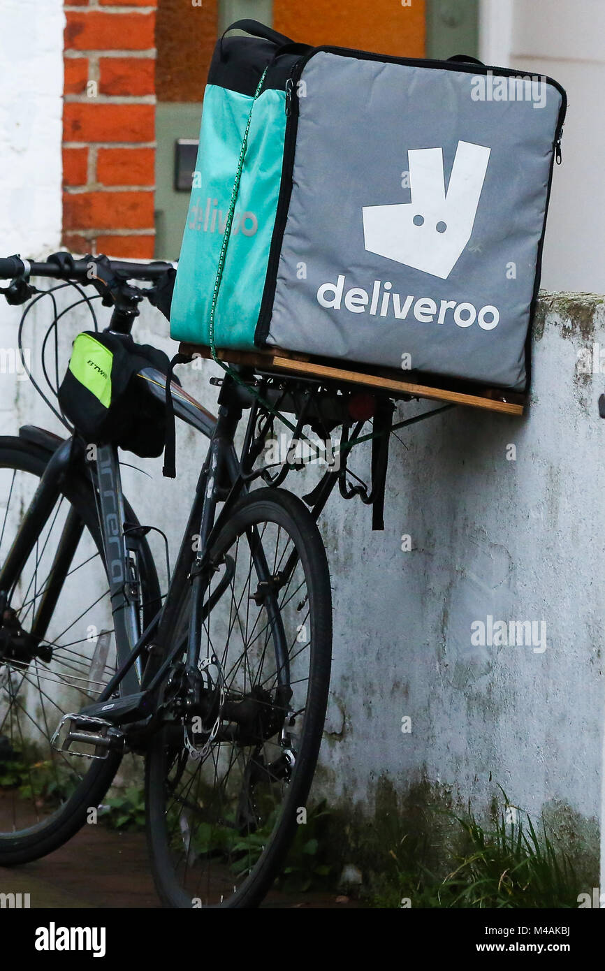 a11b82c8132 A Deliveroo food delivery box sits on the back of a bicycle as the courier  delivery