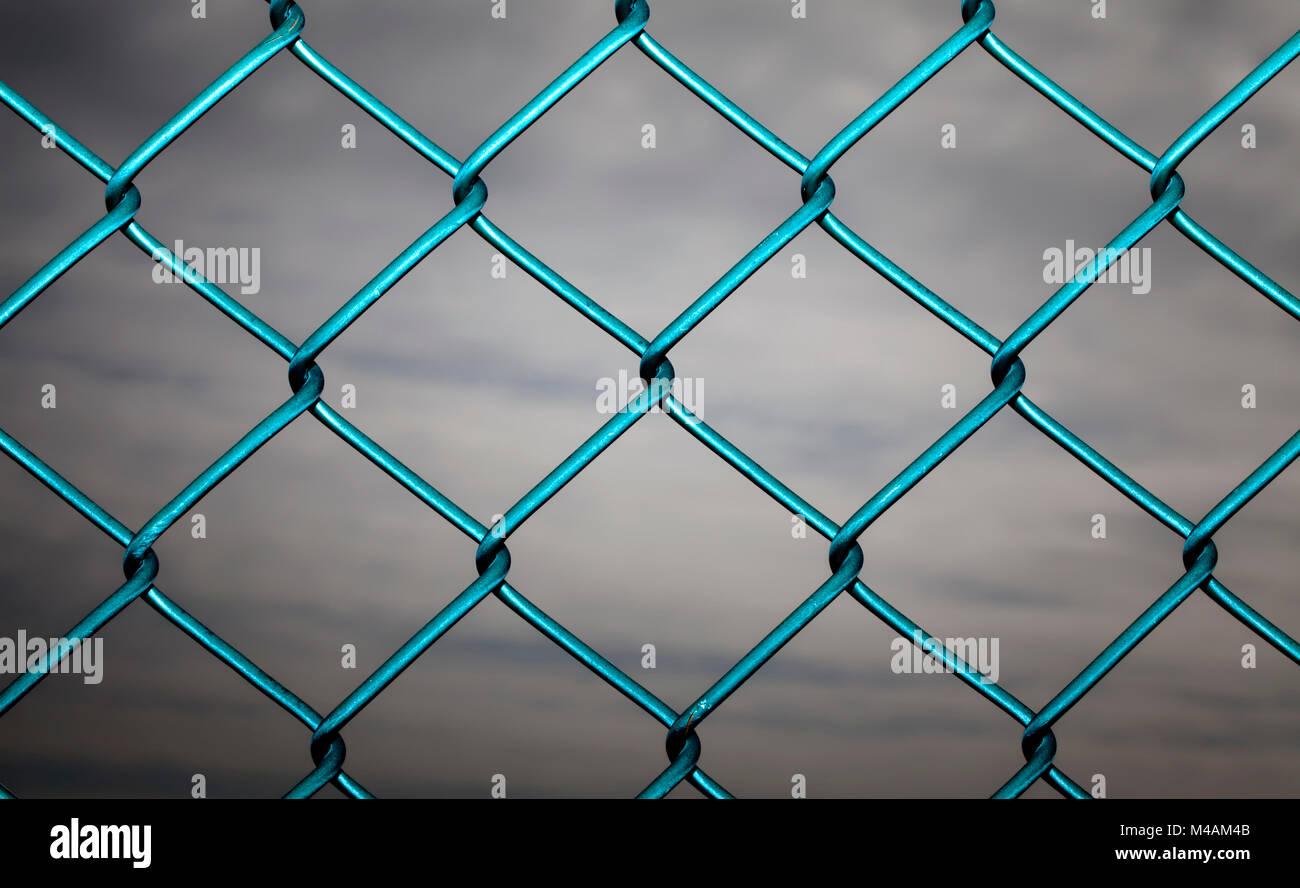 Wire mesh fence, Maschendrahtzaun - Stock Image