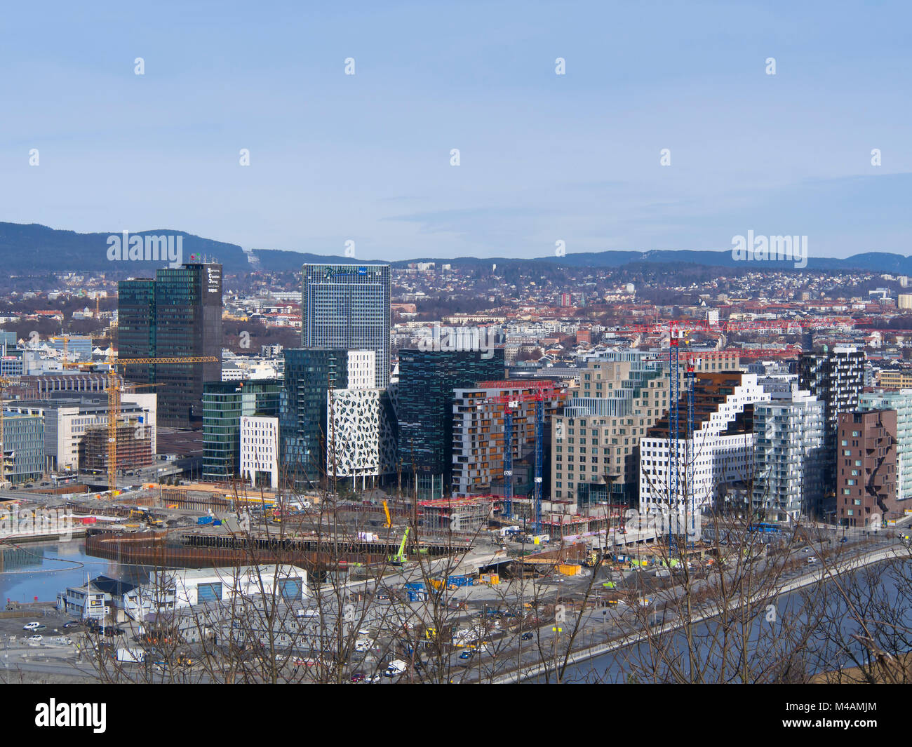 Modern Norwegian architecture in the continuously developing barcode area in Bjørvika, downtown Oslo Norway,different - Stock Image