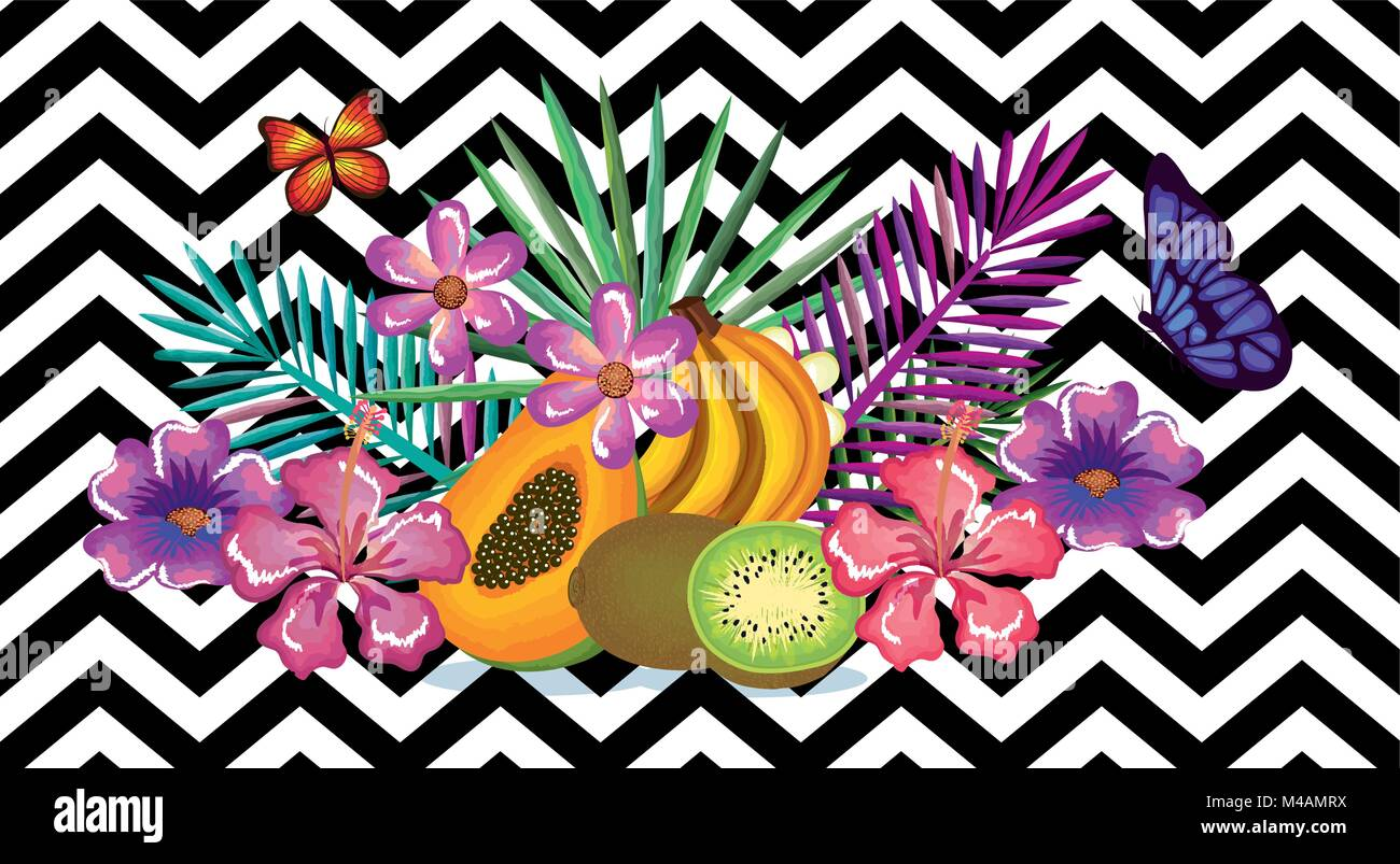 Tropical Flower And Fruits With Abstract Background Desktop Computer