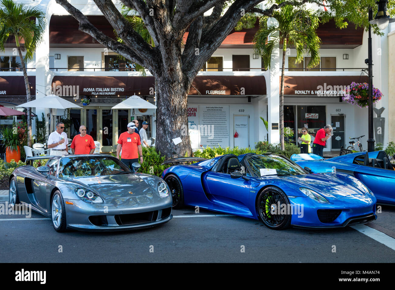 Ferrari sports cars on display at 'Cars on 5th' autoshow, Naples, Florida, USA - Stock Image