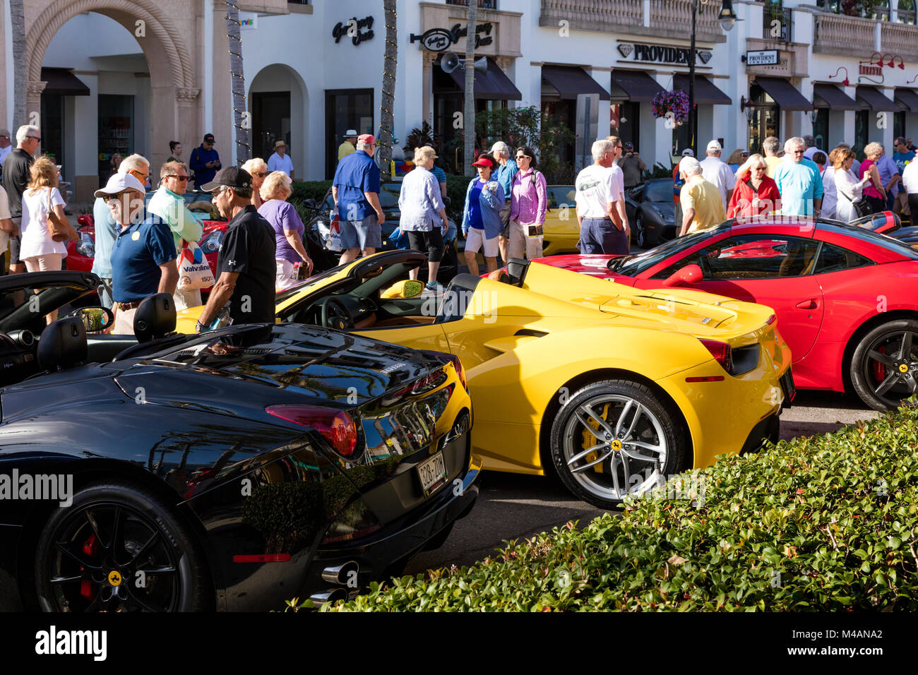 Ferraris on display at 'Cars on 5th' autoshow, Naples, Florida, USA - Stock Image
