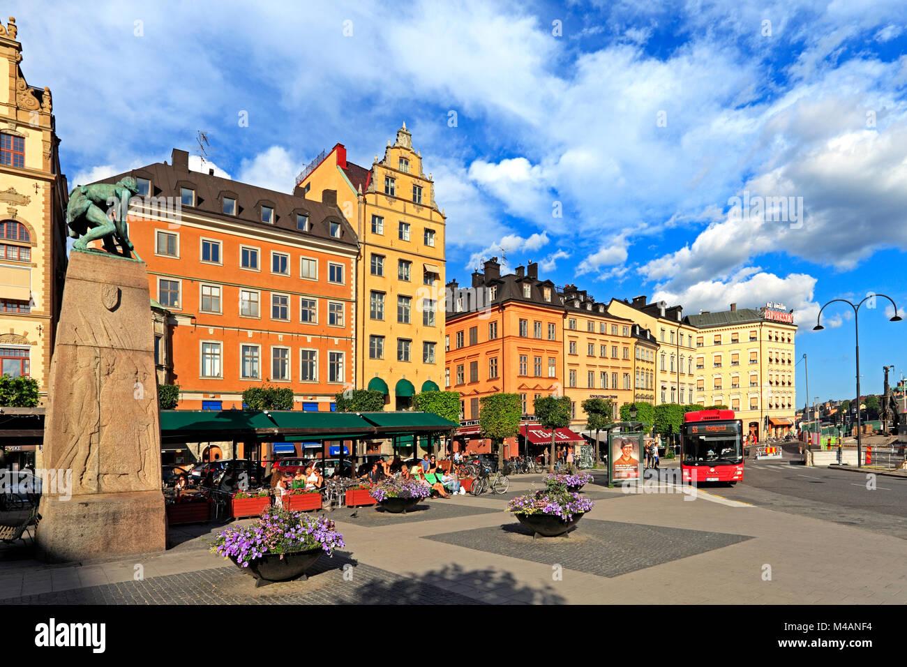 Stockholm / Sweden - 2013/08/01: Old town quarter - Kornhamnstorg street in Gamla Stan district - Stock Image