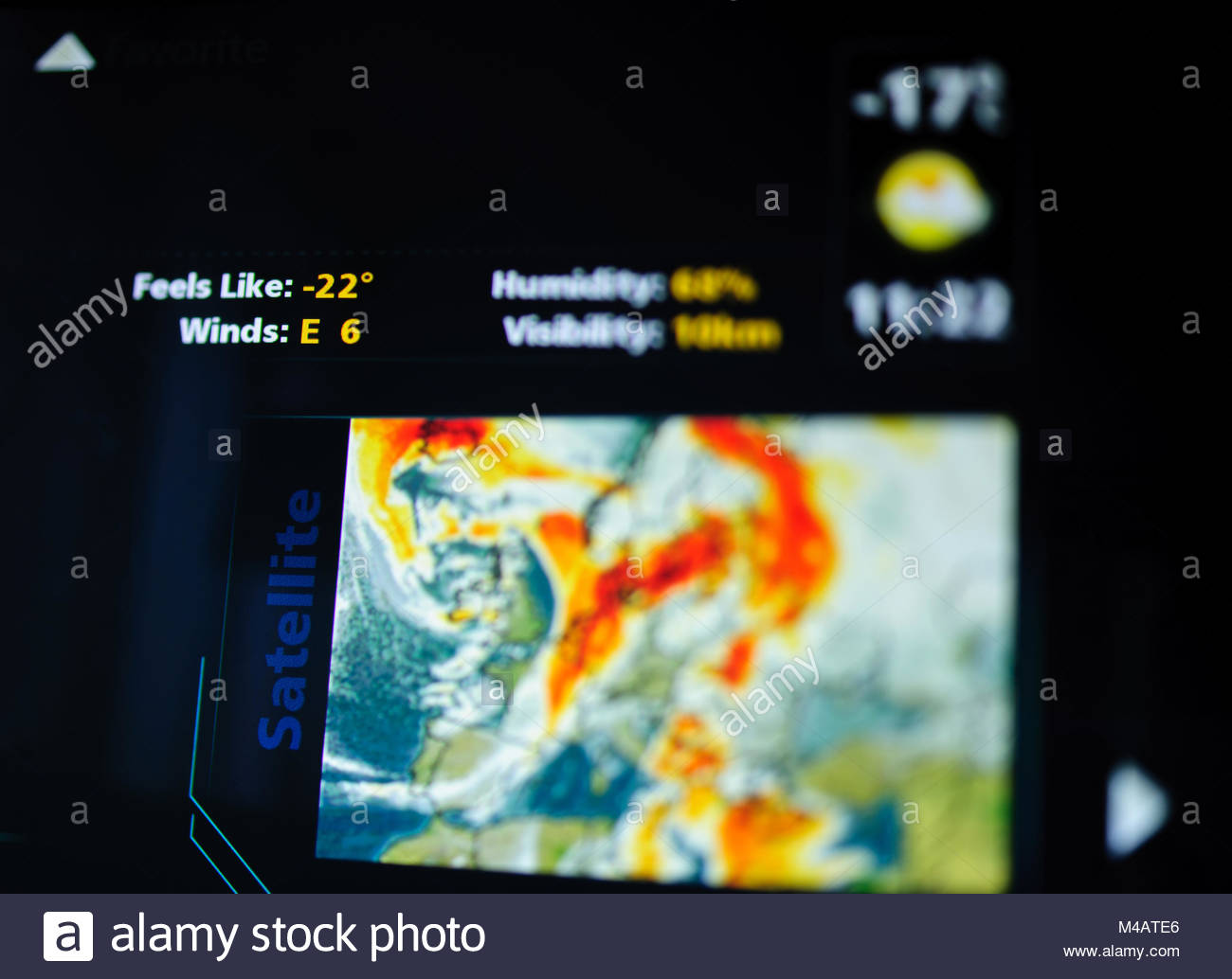 Digital weather forecast interface on a modern digital display - Stock Image