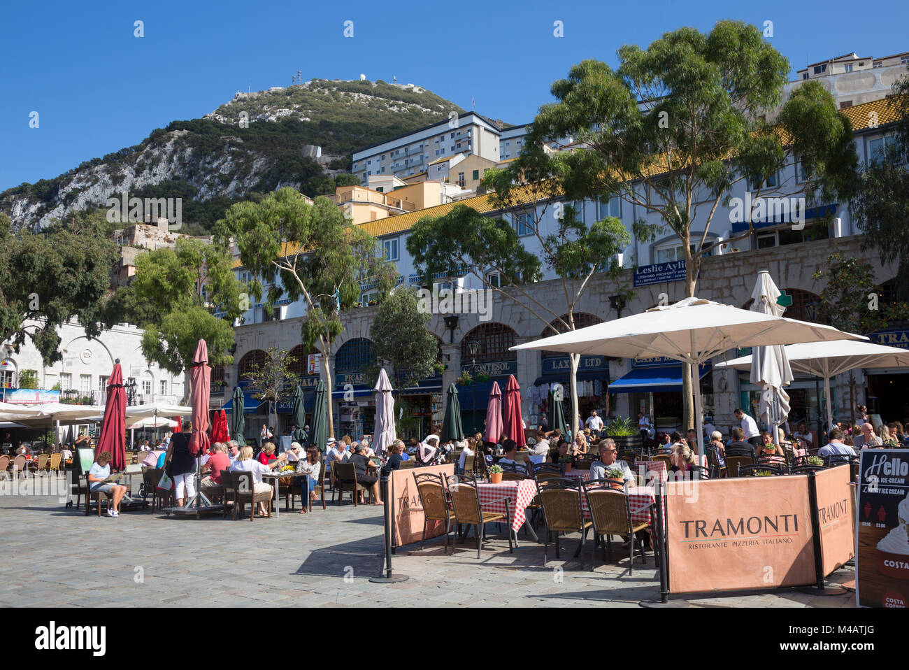 View of Grand Casemates Square, looking northeast towards the Rock of Gibraltar. - Stock Image