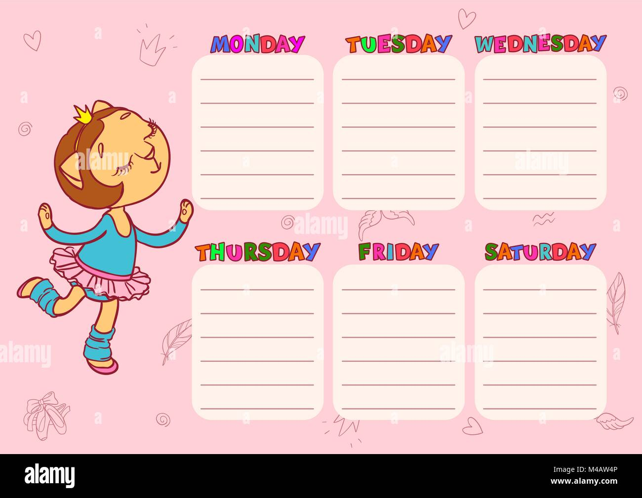 daily schedule for children vector template for school with cute cat girl