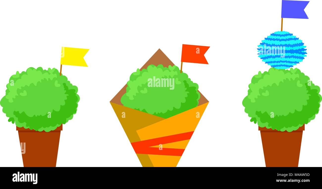 Manjerico isolated plants with flags. Santos Populares festival symbol. - Stock Vector