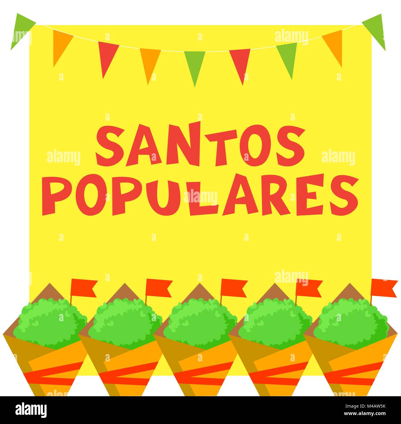 Santos Populares Portuguese festival card with manjerico plants and bunting garland. - Stock Vector