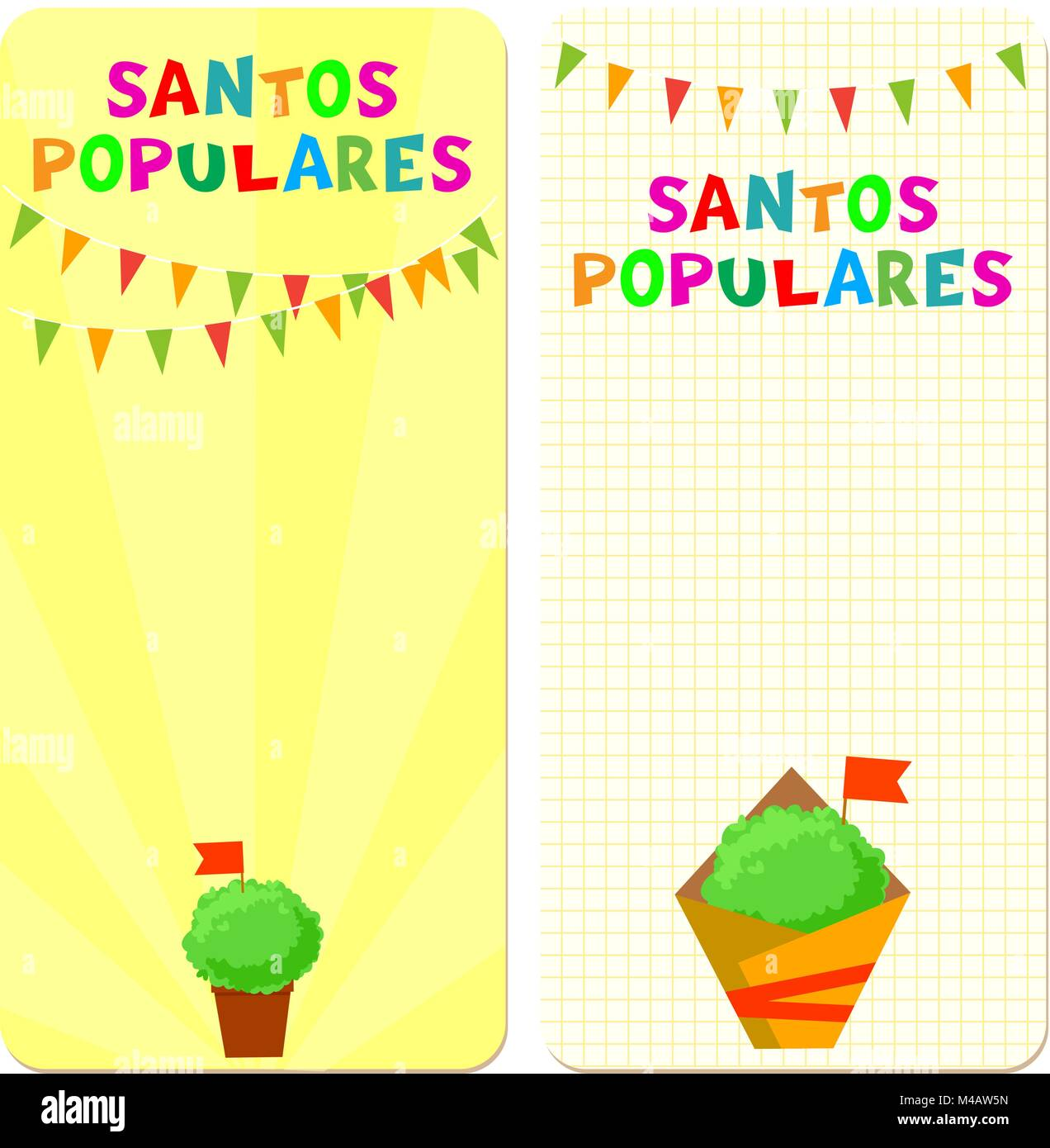 Santos Populares (Popular Saints) holiday template cards. Vector illustrations with bunting garlands and manjerico - Stock Vector
