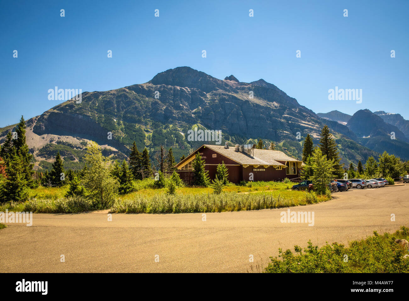 Rising Sun Motor Inn near Saint Mary Lake in Glacier National Park - Stock Image