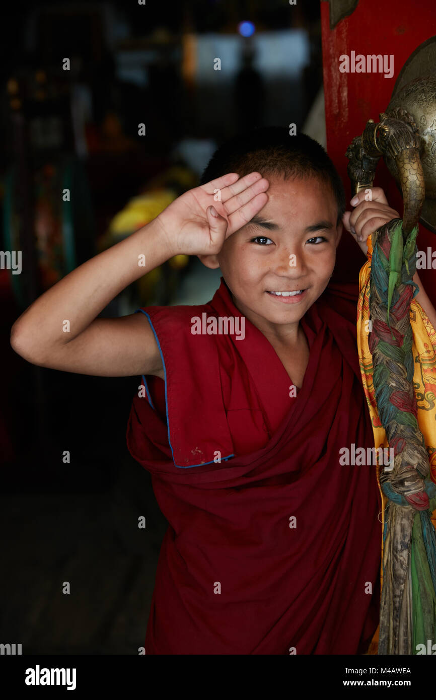monks at monastery in Kathmandu Nepal - Stock Image