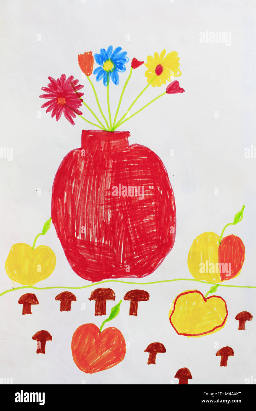 Children\'s drawing with bouquet of flowers in vase and apples Stock ...