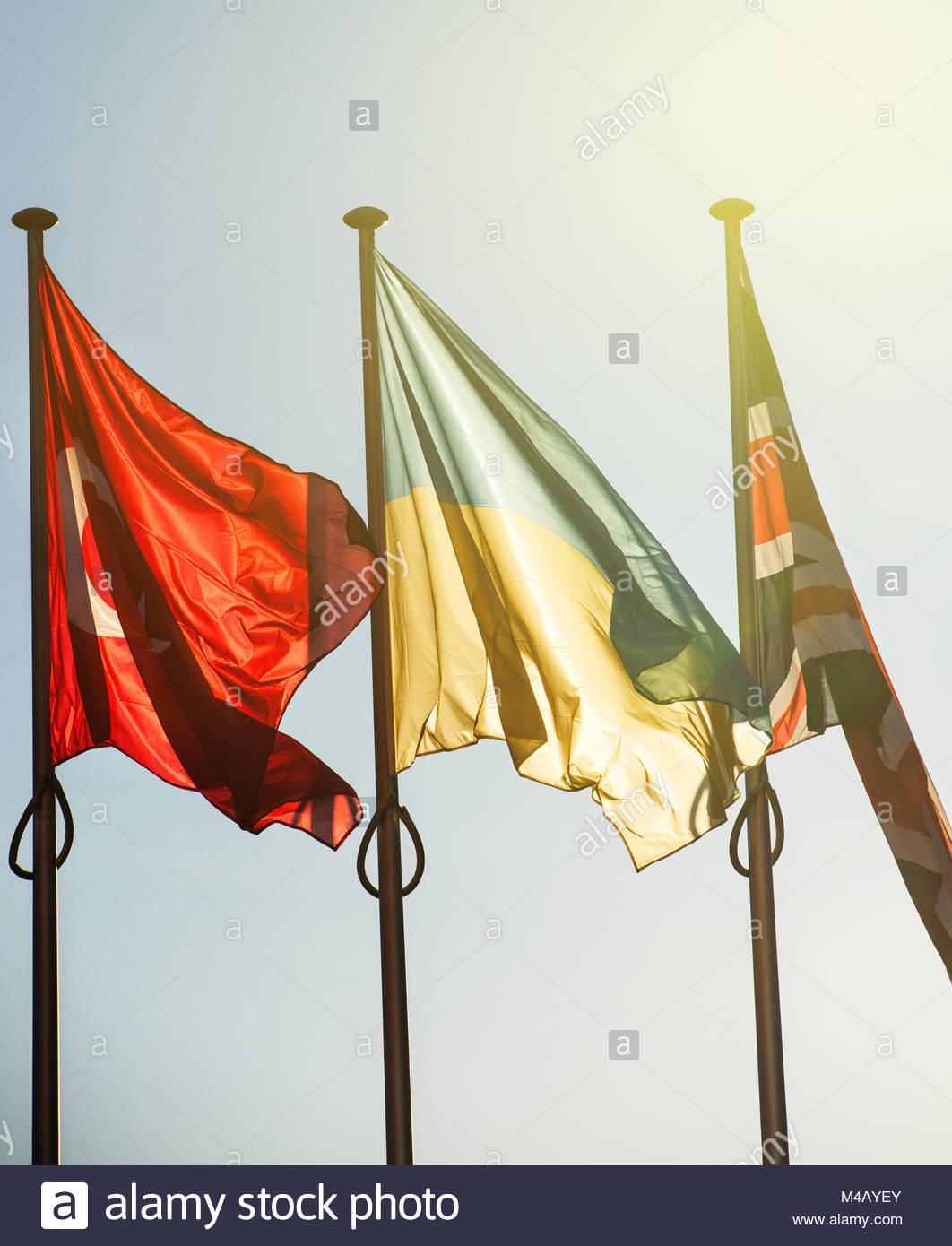 Ukraine, Turkey and United Kingdom Flags - Strasbourg - Stock Image