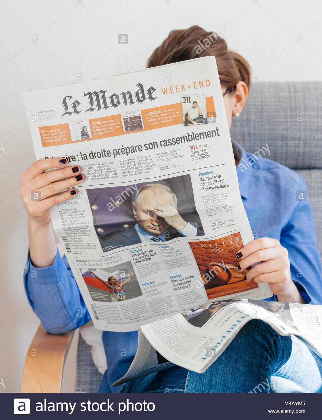 Le Monde newspaper about Vladimir Putin russian president - Stock Image