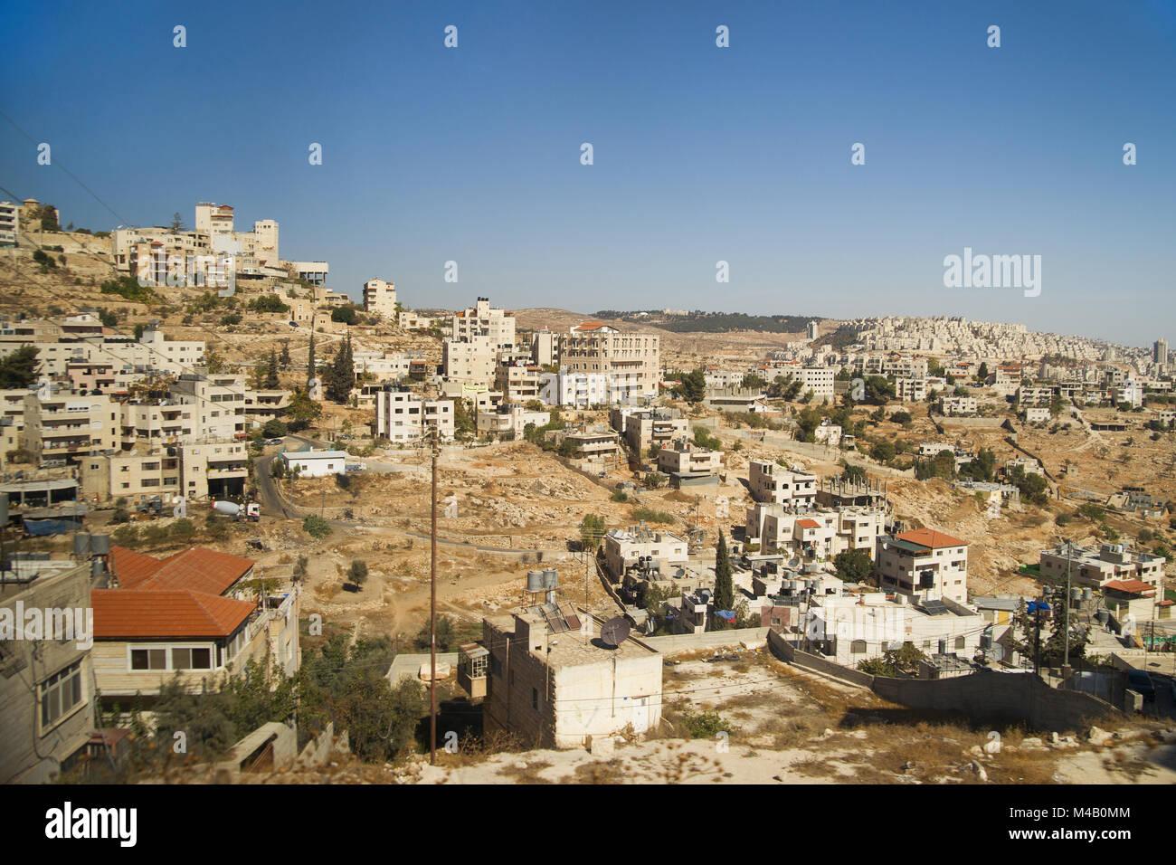 Neighbourhoods of Bethlehem on hill under clear sky - Stock Image