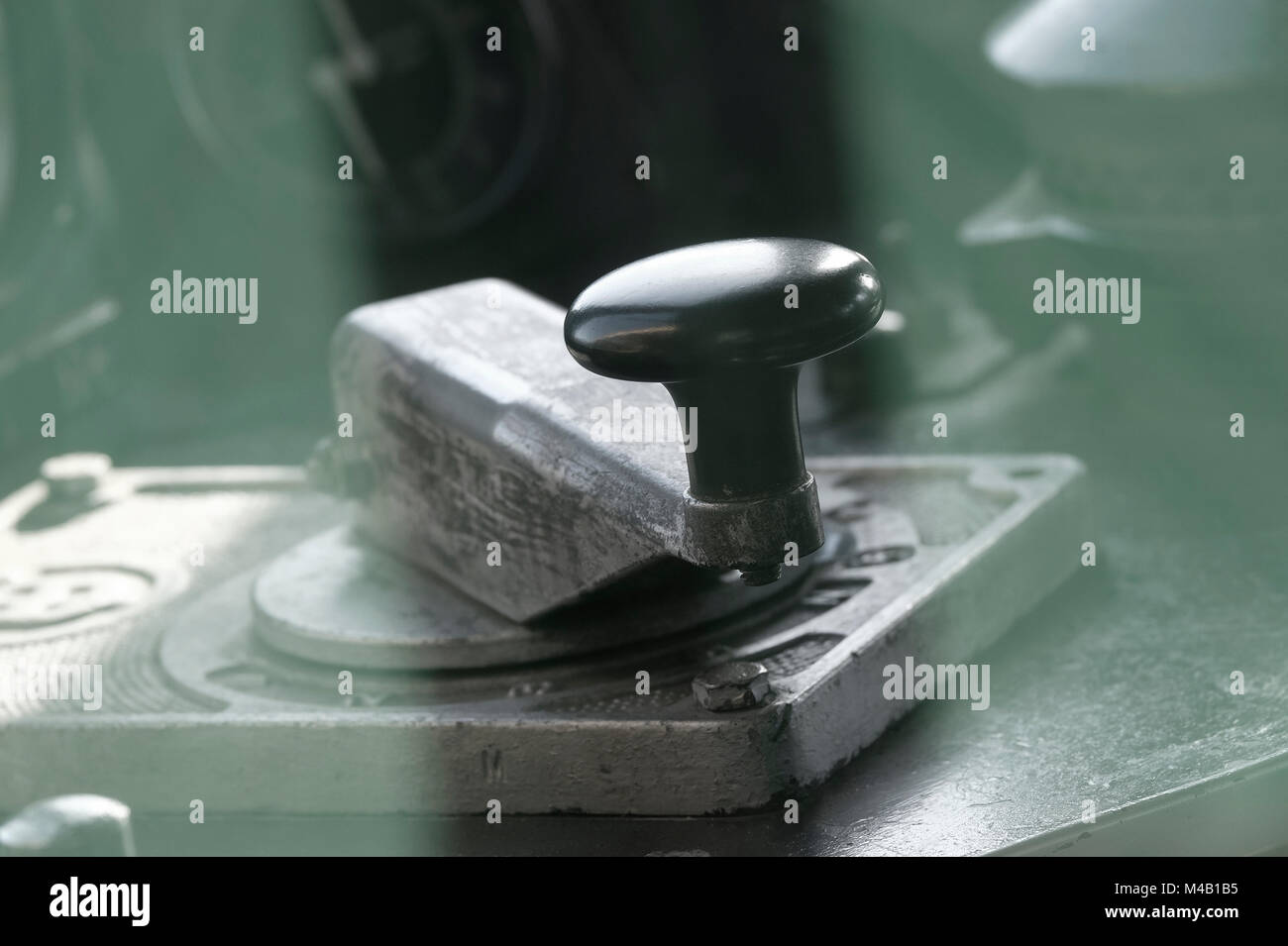 throttle lever in old diesel train - Stock Image