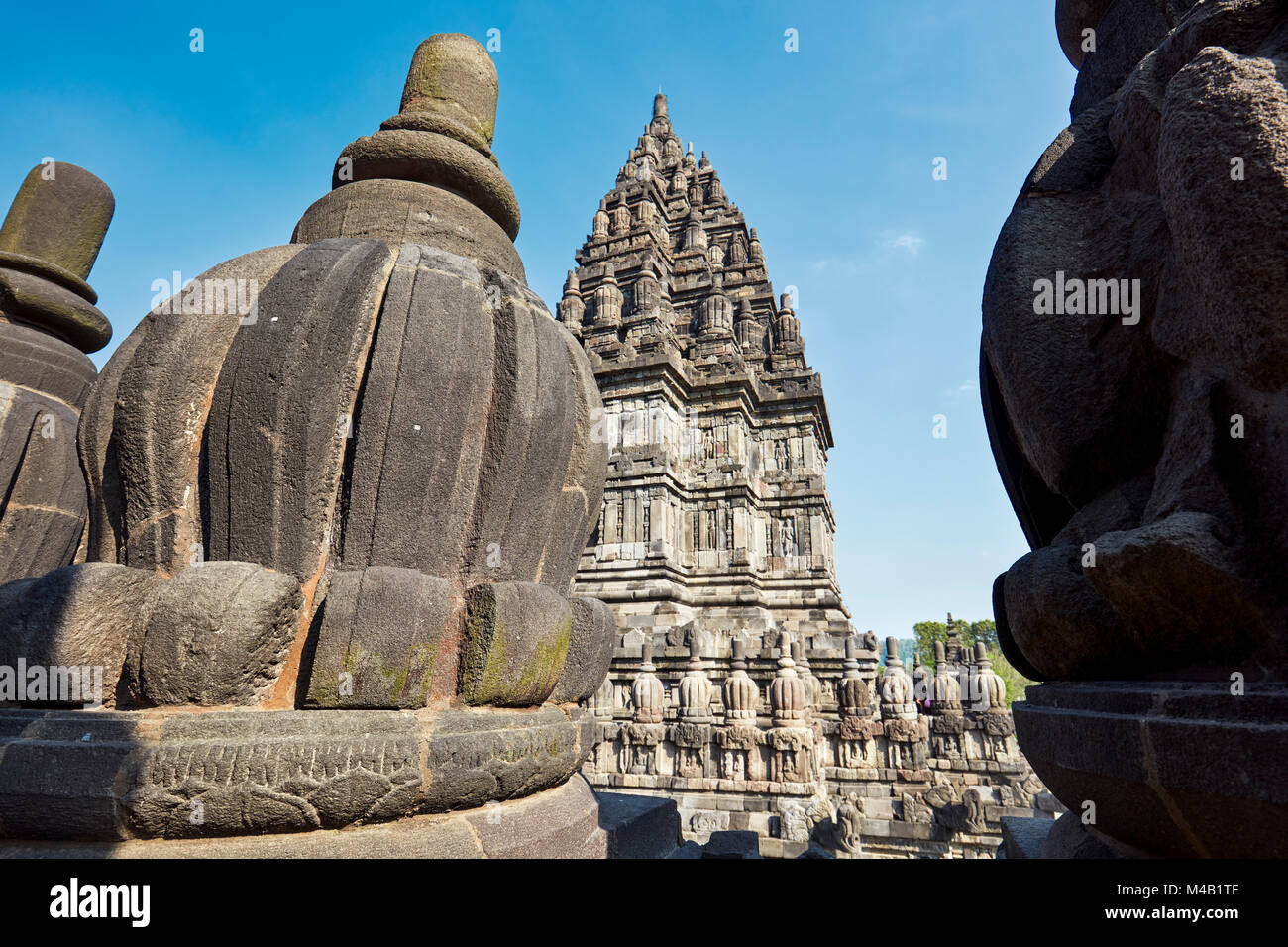 Stone carved temple architectural detail. Prambanan Hindu Temple Compound, Special Region of Yogyakarta, Java, Indonesia. - Stock Image
