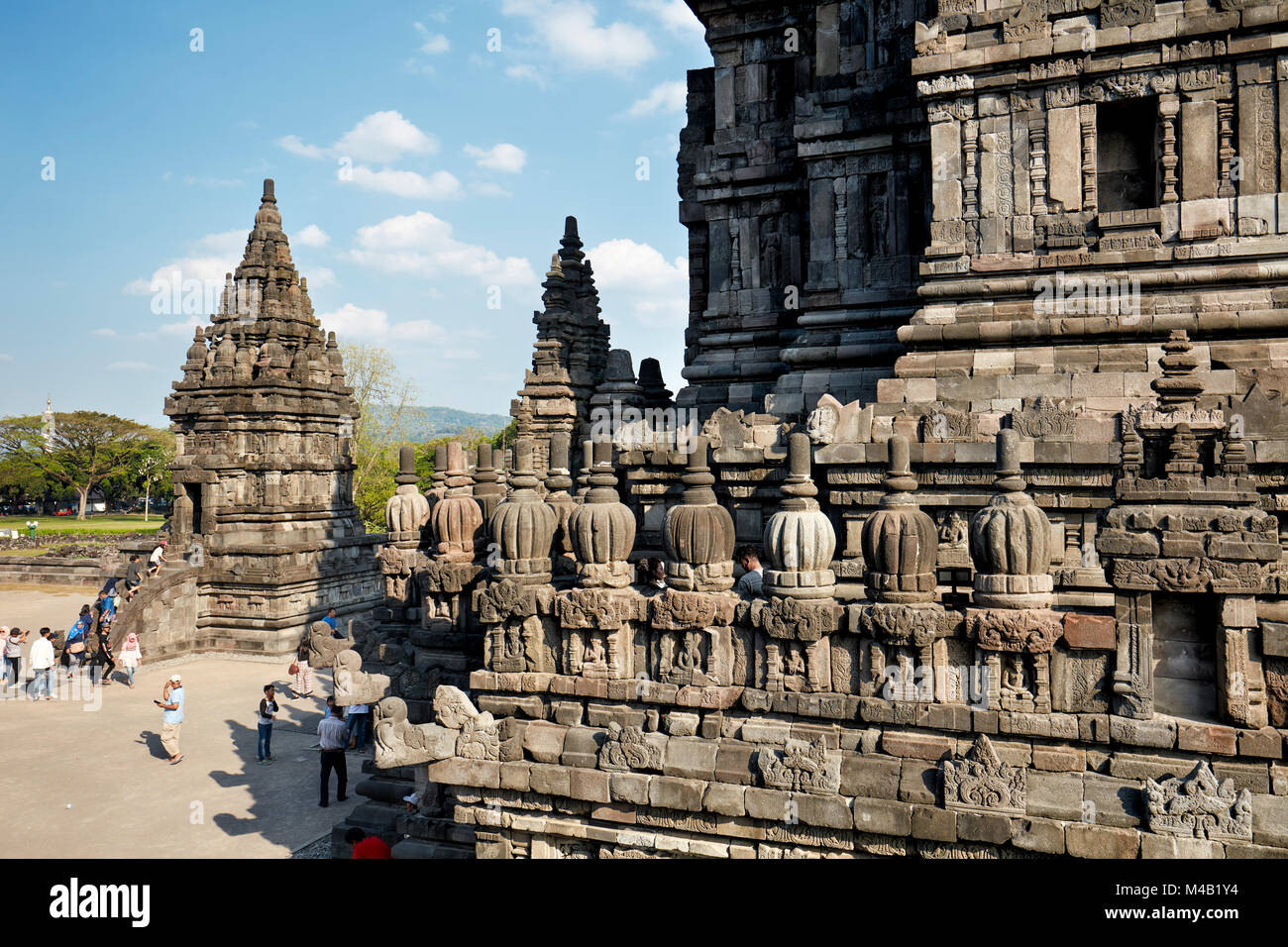 Elaborate stone carving on the temple wall. Prambanan Hindu Temple Compound, Special Region of Yogyakarta, Java, - Stock Image