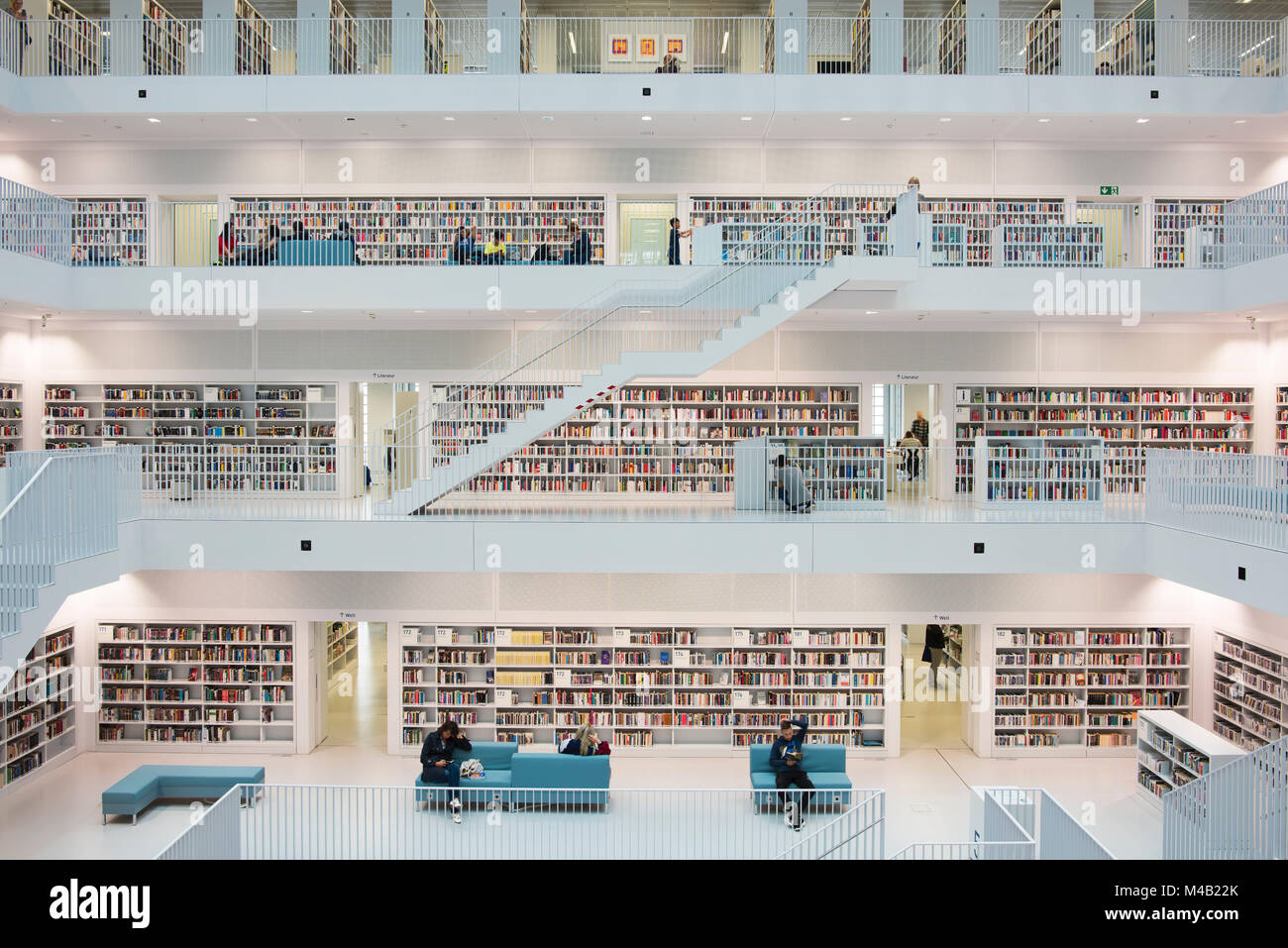 balcony hall with staircases of the town library on the Mailänder Platz (square),architects RKW Eun Young Yi,Stuttgart,Baden - Stock Image