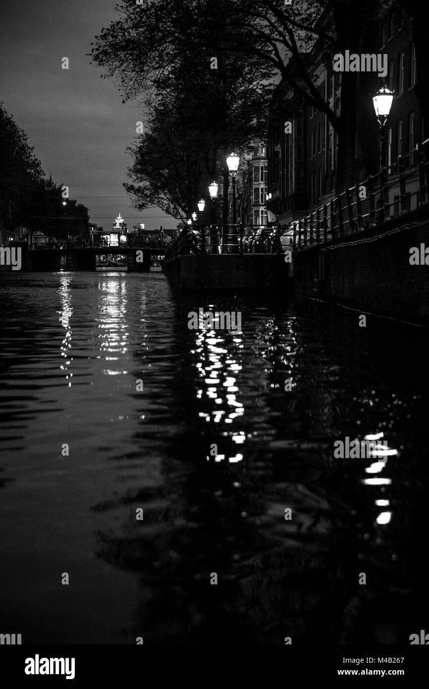 The Netherlands,Holland,Amsterdam,canal,night,lanterns - Stock Image