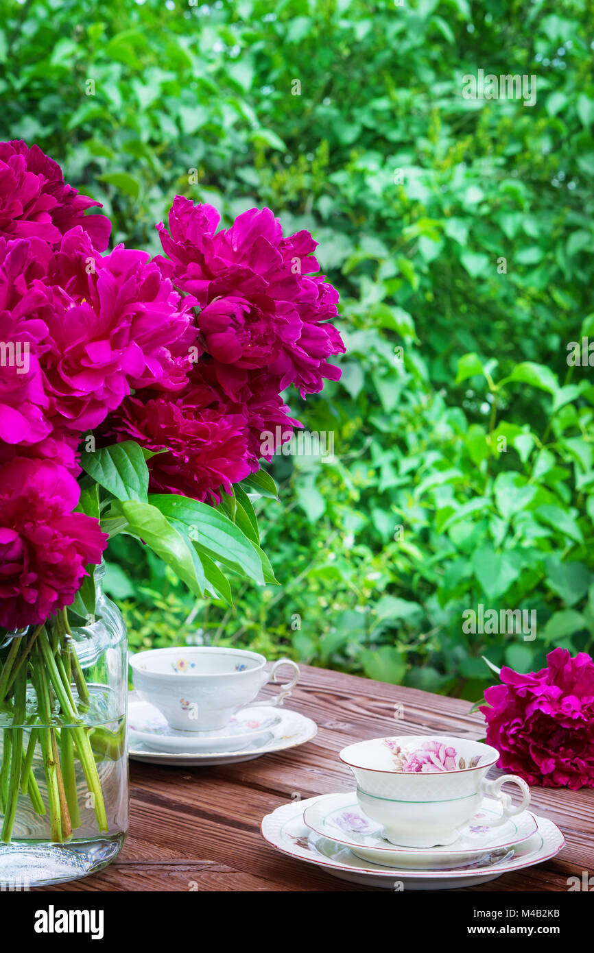 Coffee table at Pentecost - Stock Image