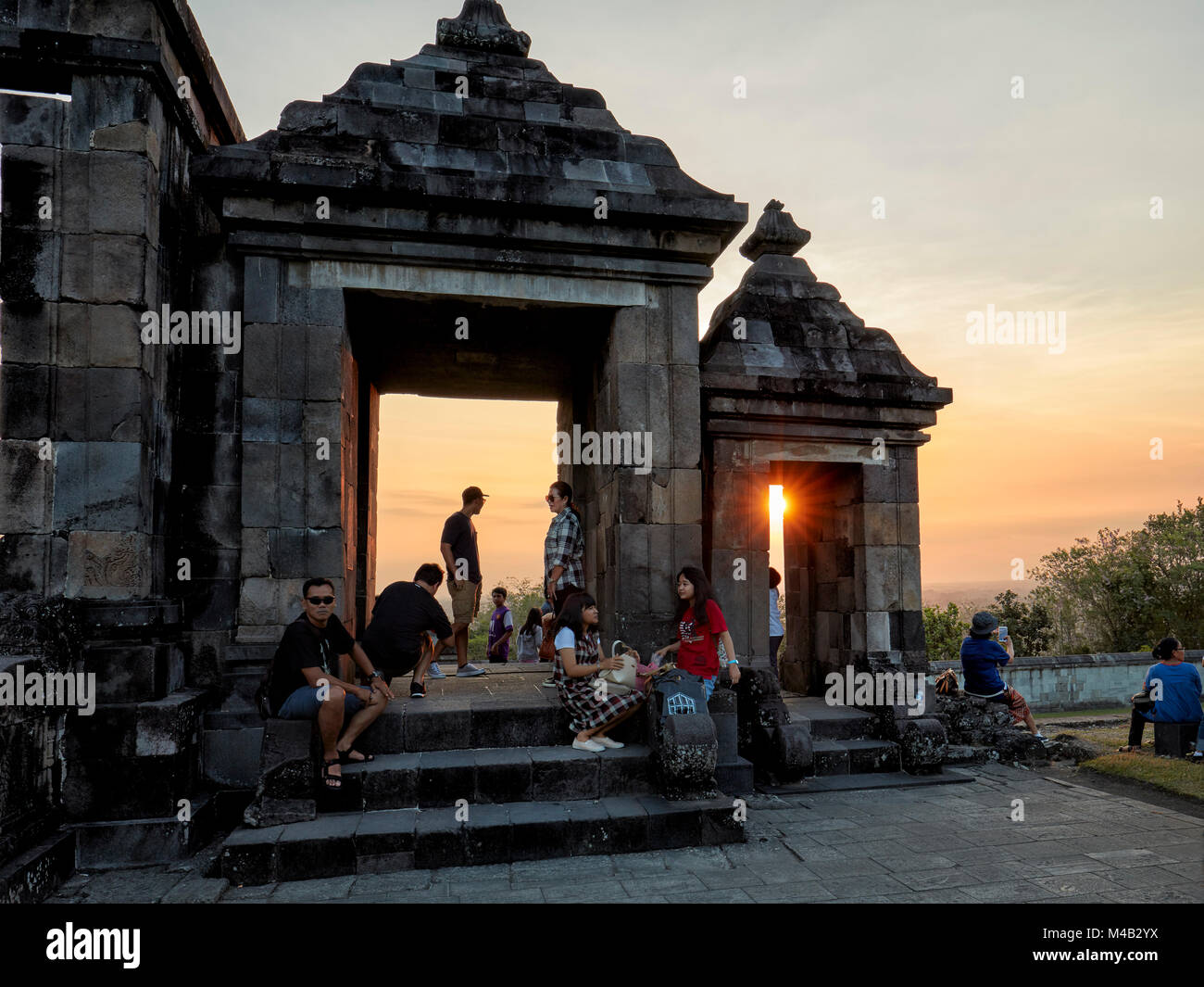 The main gate of Ratu Boko Palace compound at sunset. Special Region of Yogyakarta, Java, Indonesia. - Stock Image