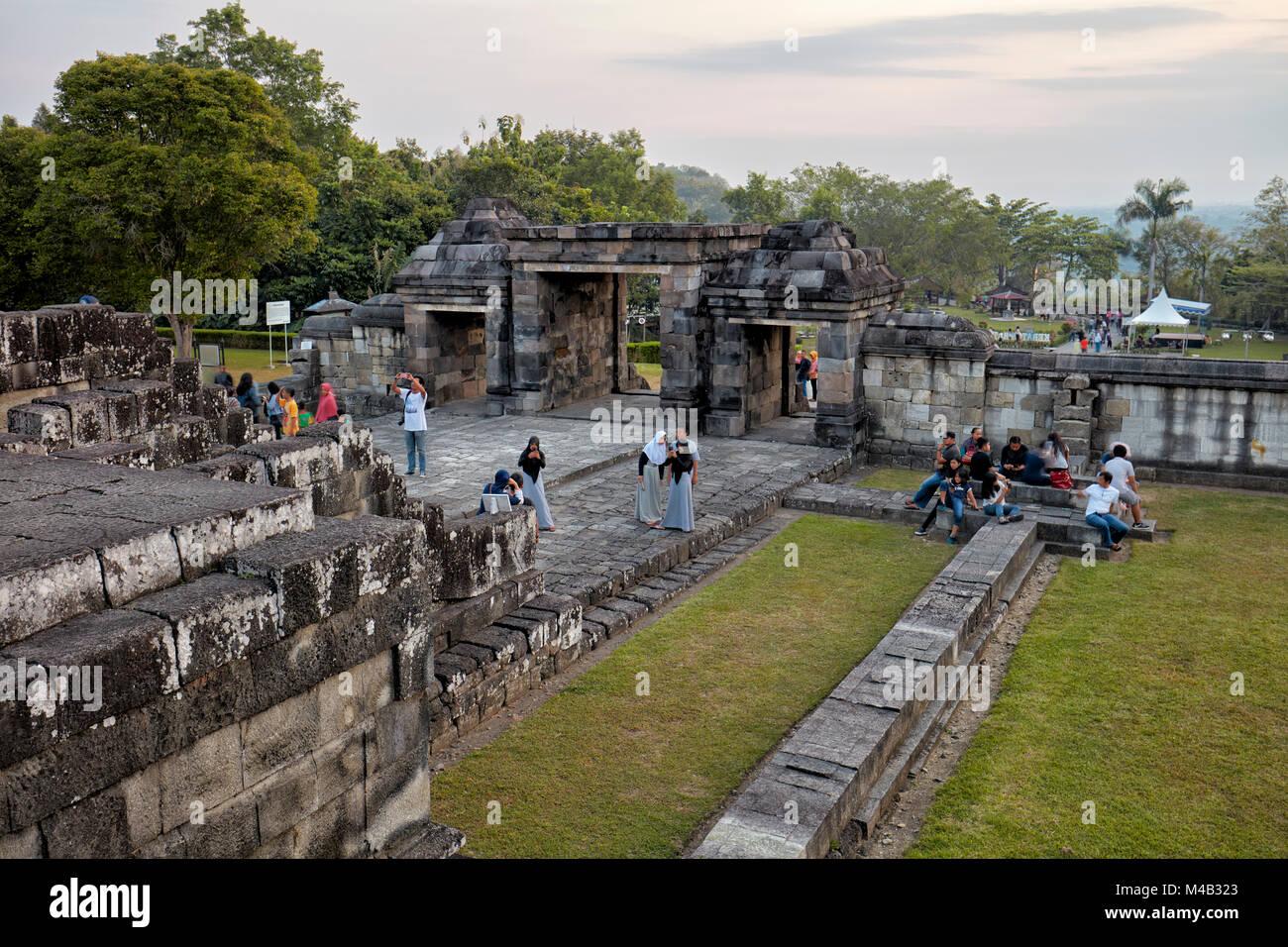 The main gate of Ratu Boko Palace compound at sunset. Special Region of Yogyakarta, Java, Indonesia. - Stock Image