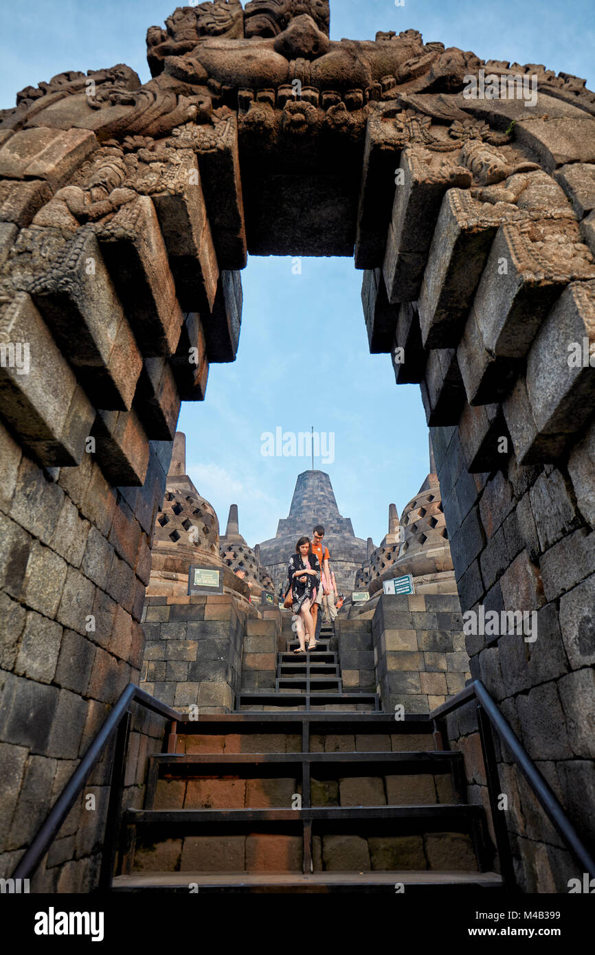 Stairs through arch of Kala. Borobudur Buddhist Temple, Magelang Regency, Java, Indonesia. - Stock Image