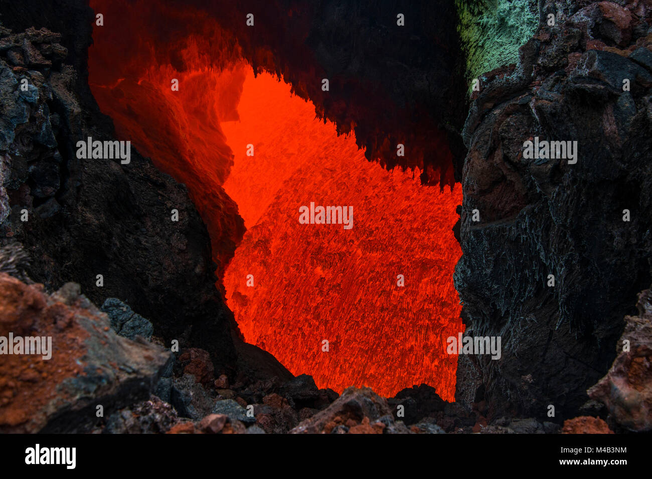 Active magma in a stream below the Tolbachik volcano,Kamchatka,Russia - Stock Image