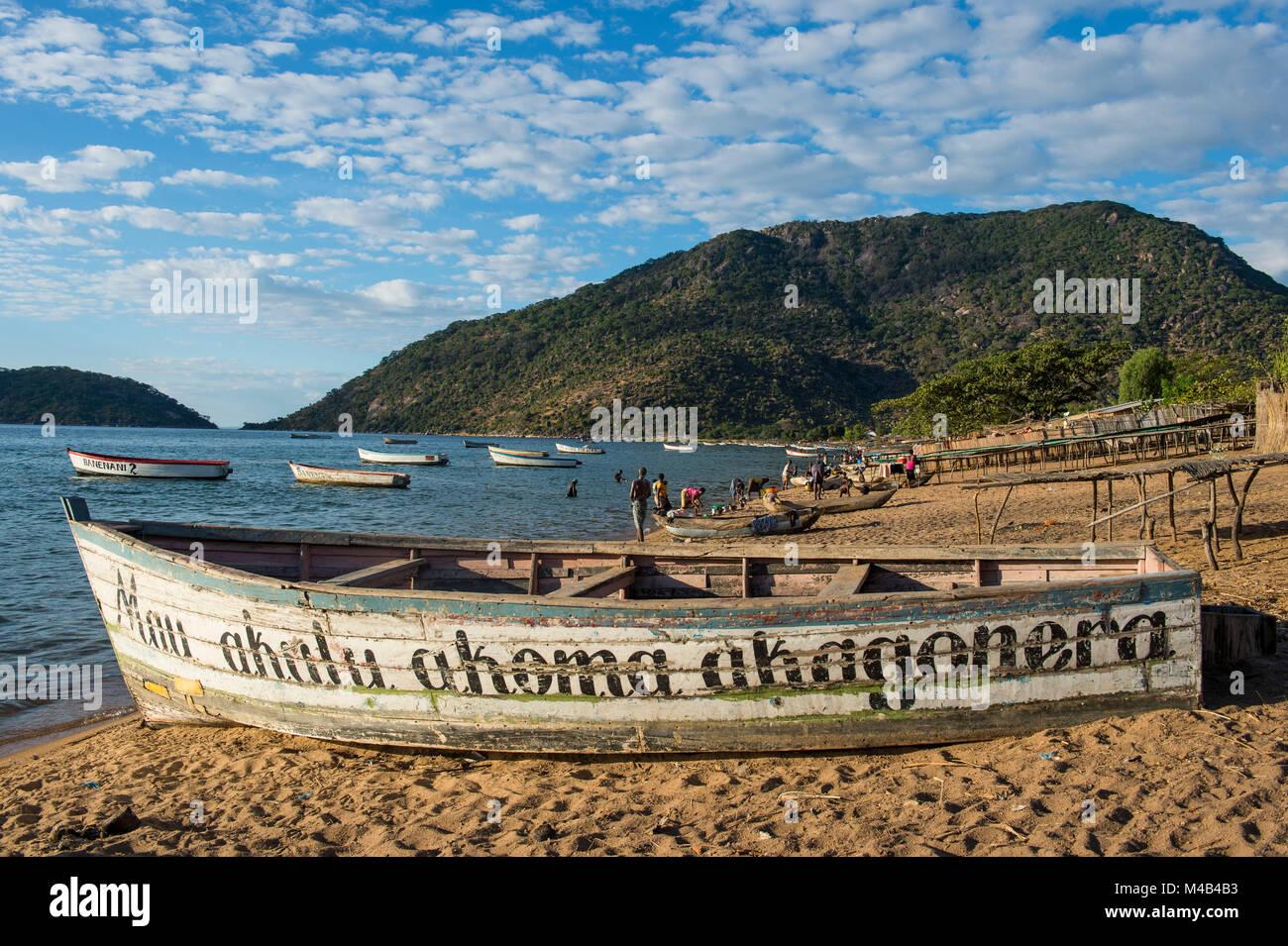 Fishing boats on a beach,Lake Malawi,Cape Maclear,Malawi,Africa Stock Photo