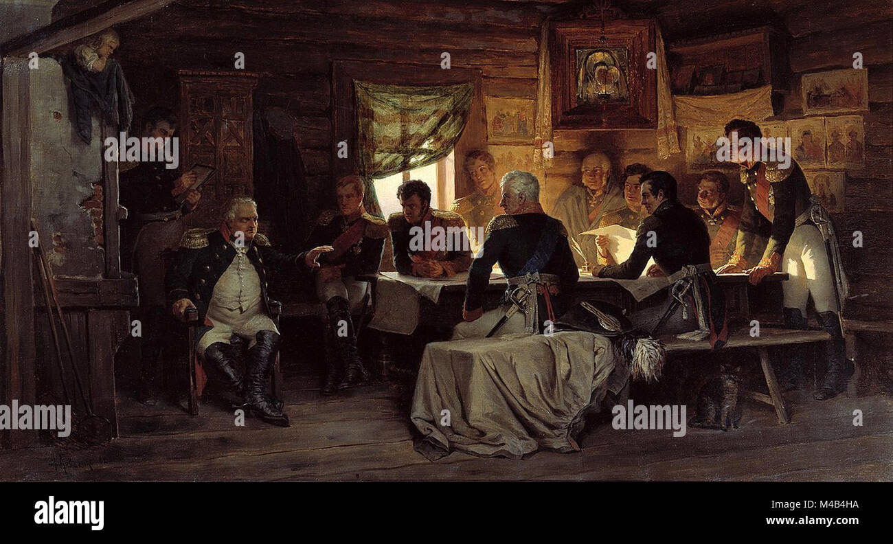 M. I. Kutuzov and his staff in the meeting at Fili village, when Kutuzov decided that the Russian army had to retreat - Stock Image
