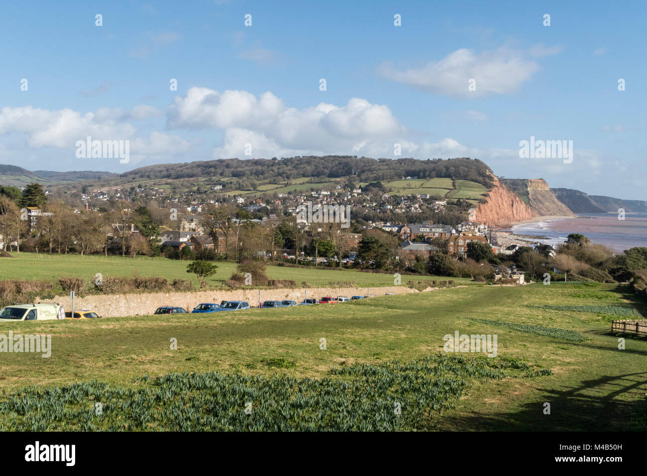 Walkers view of Sidmouth from the South West Coastal Path descending from Peak Hill, Sidmouth,Devon - Stock Image
