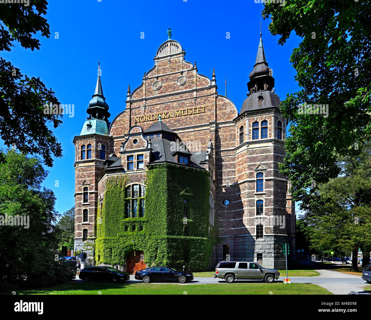 Stockholm / Sweden - 2013/08/01: Djurgarden Island - front facade of Nordic Museum - historical and contemporary - Stock Image