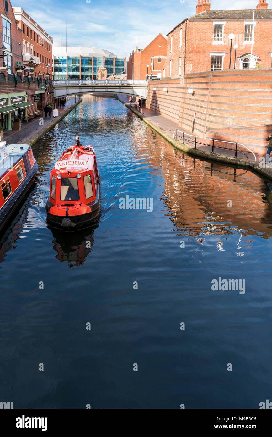 Views of the canal in Brindley Place Birmingham, UK - Stock Image