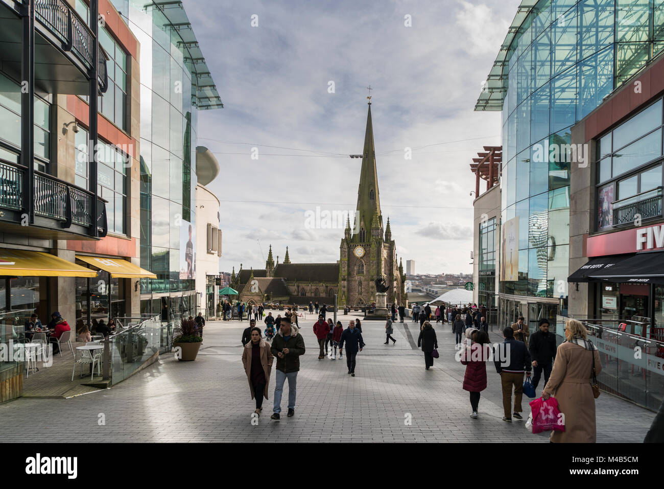 Shoppers close to the Bull Ring in Birmingham, UK Stock Photo