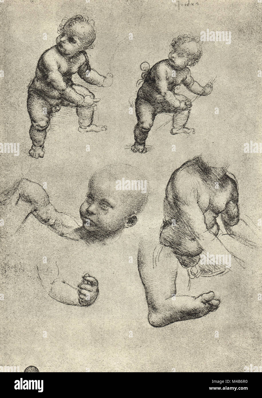 Anatomical drawing, Studies of a child and parts of a child, drawn ...