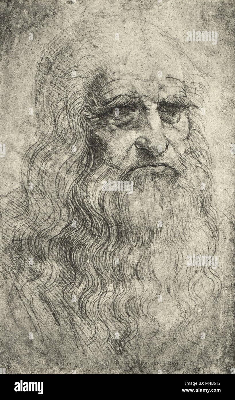 Leonardo Da Vinci self portrait, Circa 1512 - Stock Image