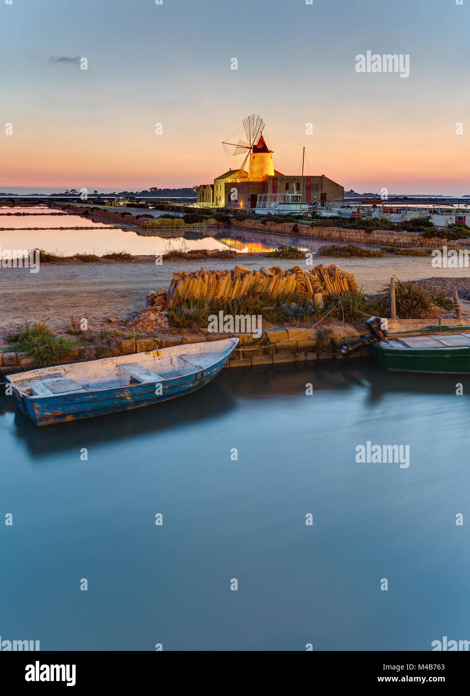 Dawn at the saltpans of Marsala in Sicily, Italy Stock Photo