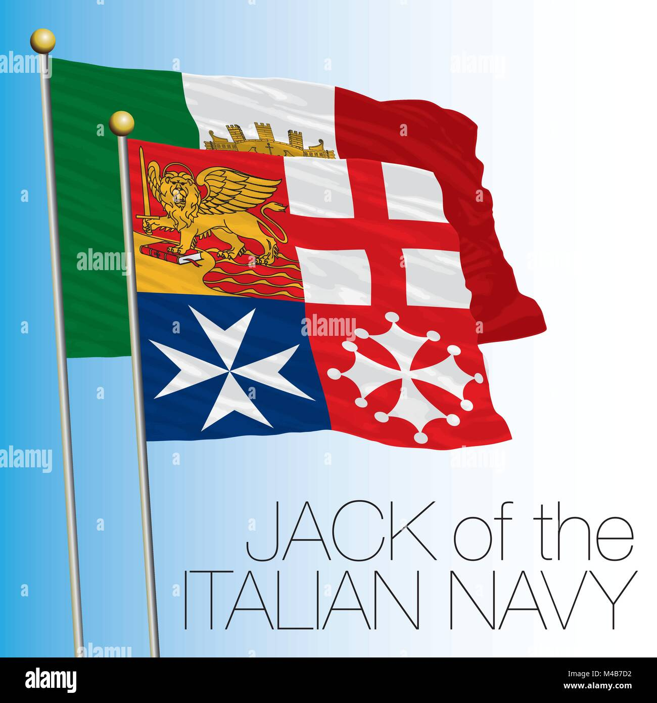 Italian Navy Jack flag, Italian Republic, Italy, European Union - Stock Vector