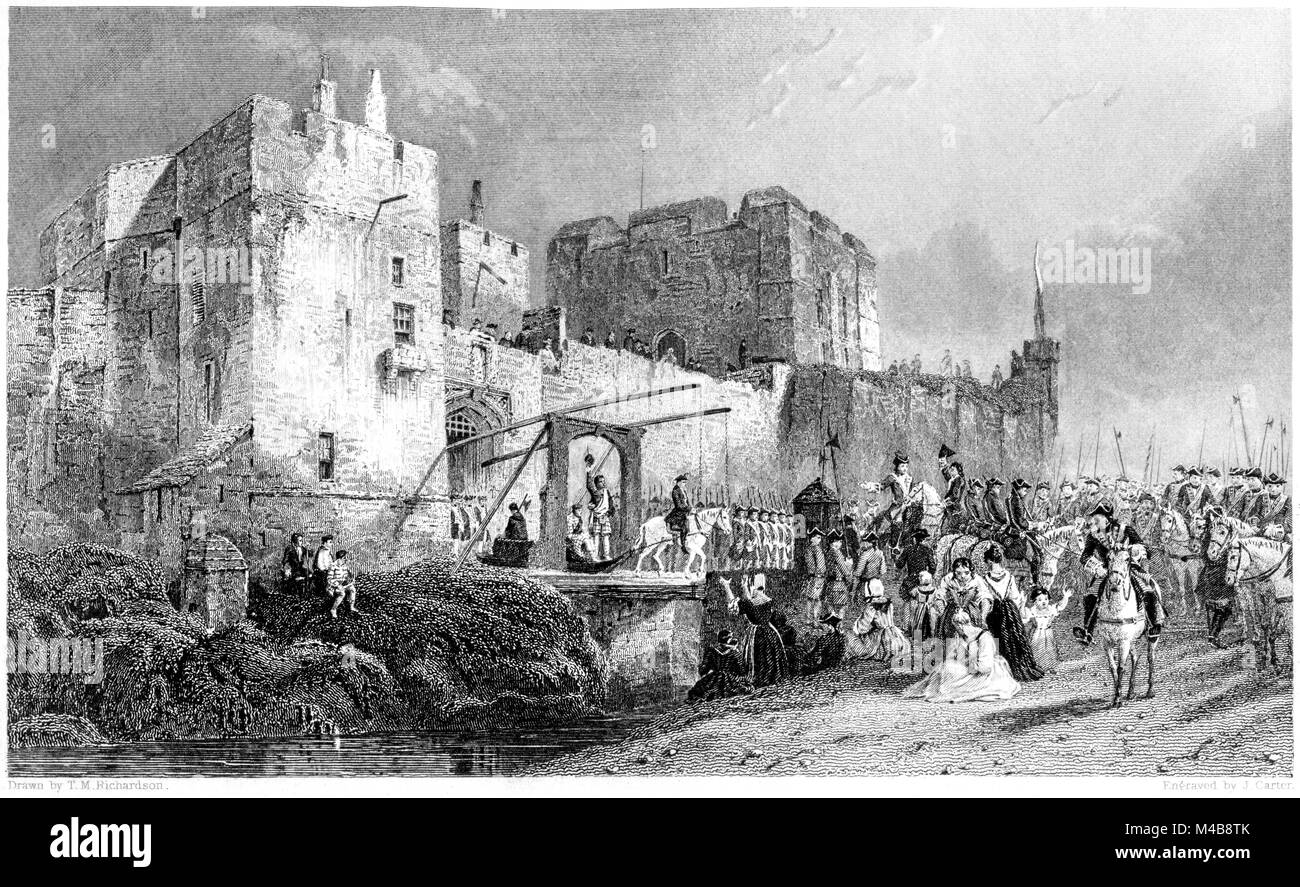 Engraving of execution at Carlisle Castle of Fergus Mac Ivor & Evan Dhu during the 1745 Jacobite Rebellion scanned - Stock Image