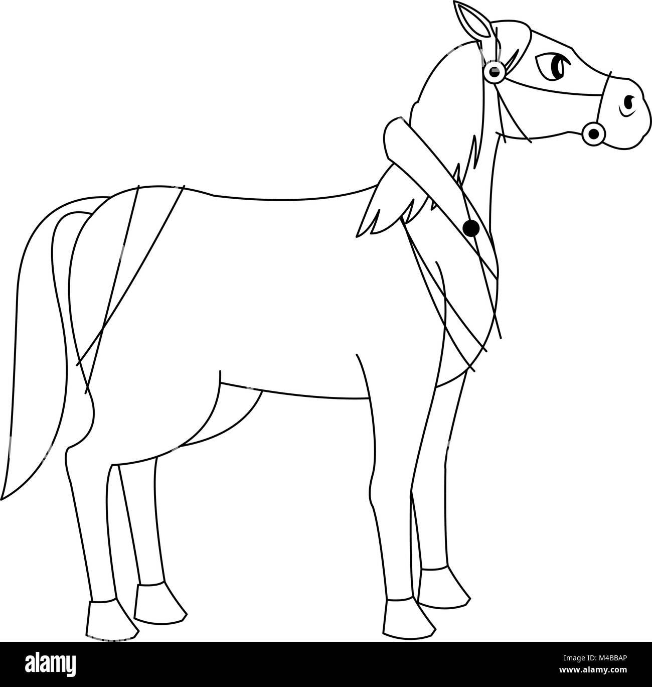 Horse animal cartoon - Stock Image