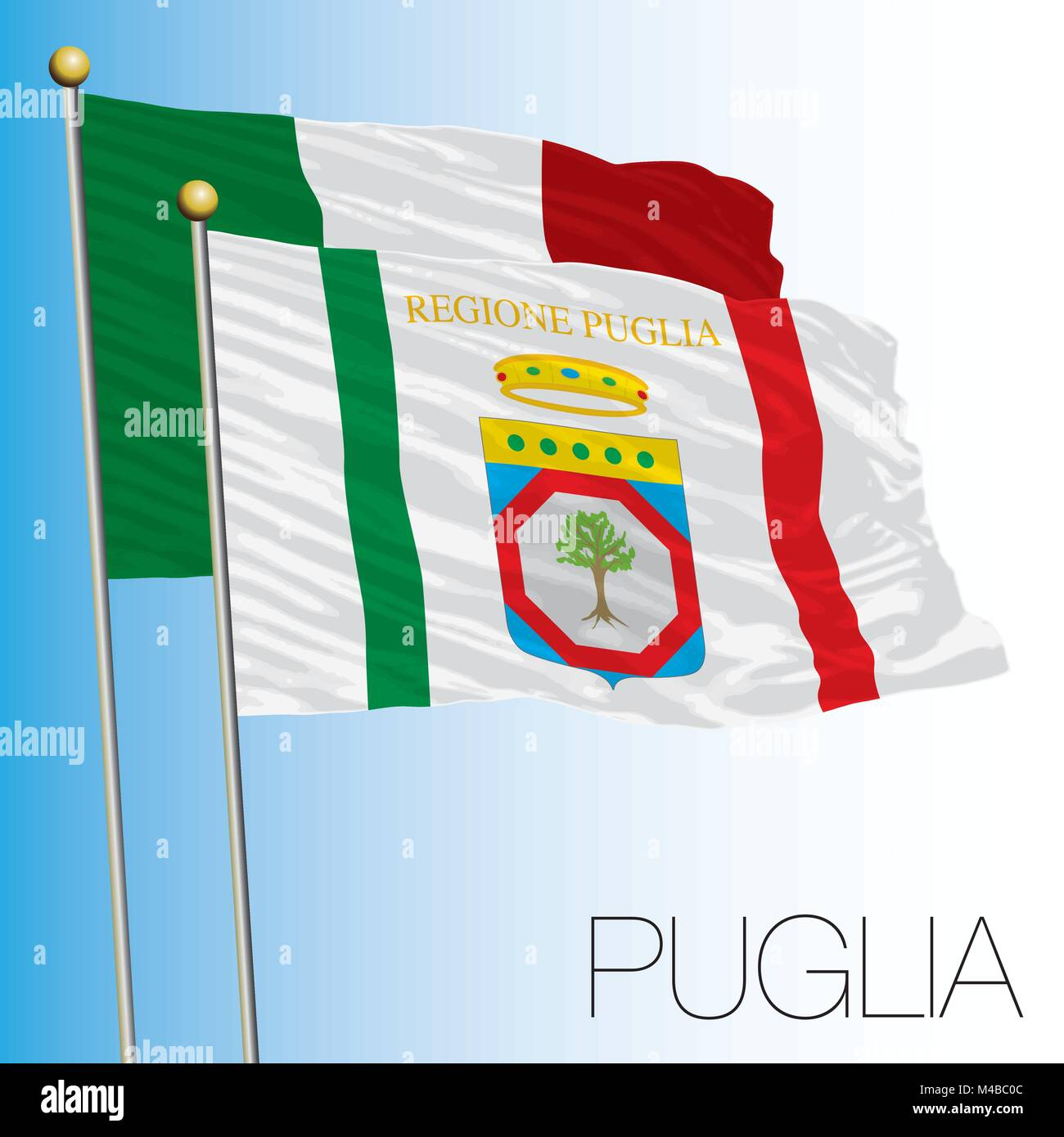 Puglia regional flag, Italian Republic, Italy, European Union - Stock Vector