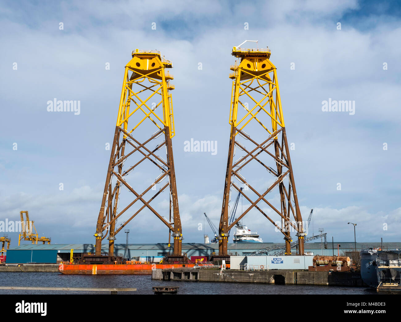 Large sub-sea platforms await delivery to Beatrice offshore wind farm in the North Sea.  They were fabricated by - Stock Image
