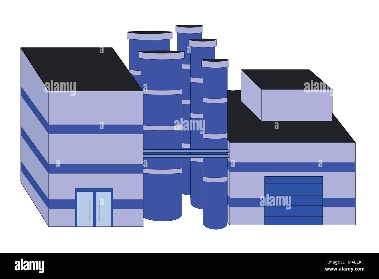 Illustration of fabric with industry stone choirs, vector of industrial building for production of good with many - Stock Vector