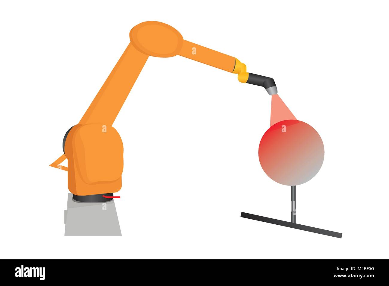 Illustration of industrial automated paint robot, vector of robot lacquering something/ robots leading to mass unemployment/ - Stock Vector