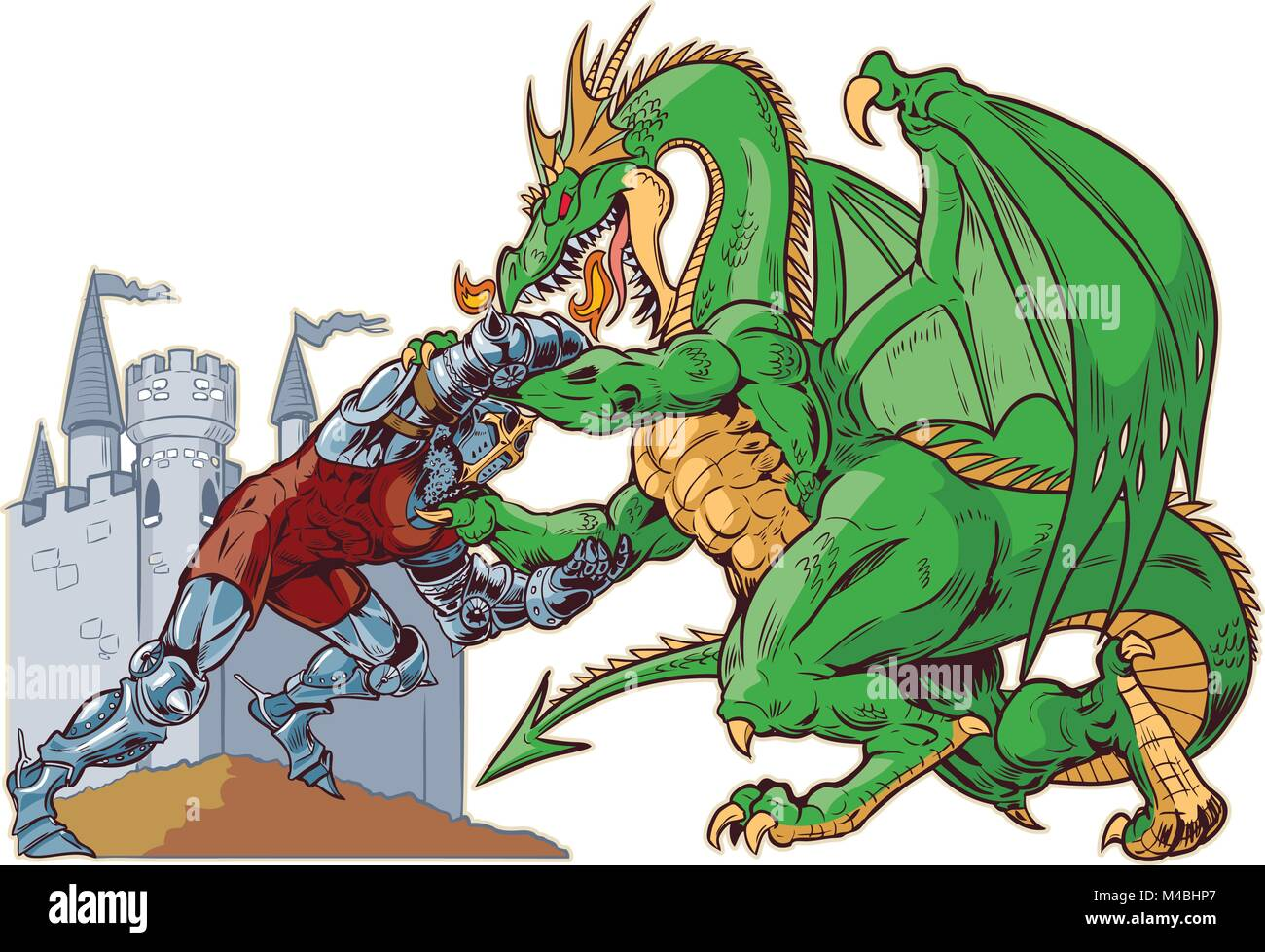 Vector cartoon clip art illustration of a muscular knight mascot wrestling with a tough mean dragon on a castle - Stock Image