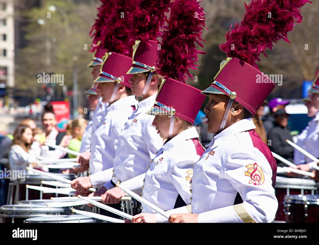 From Marietta Georgia The Lassiter High School marching Trojan band - Stock Image